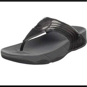 Fitflop Walkstar Patent Black Sandals 10 Beach